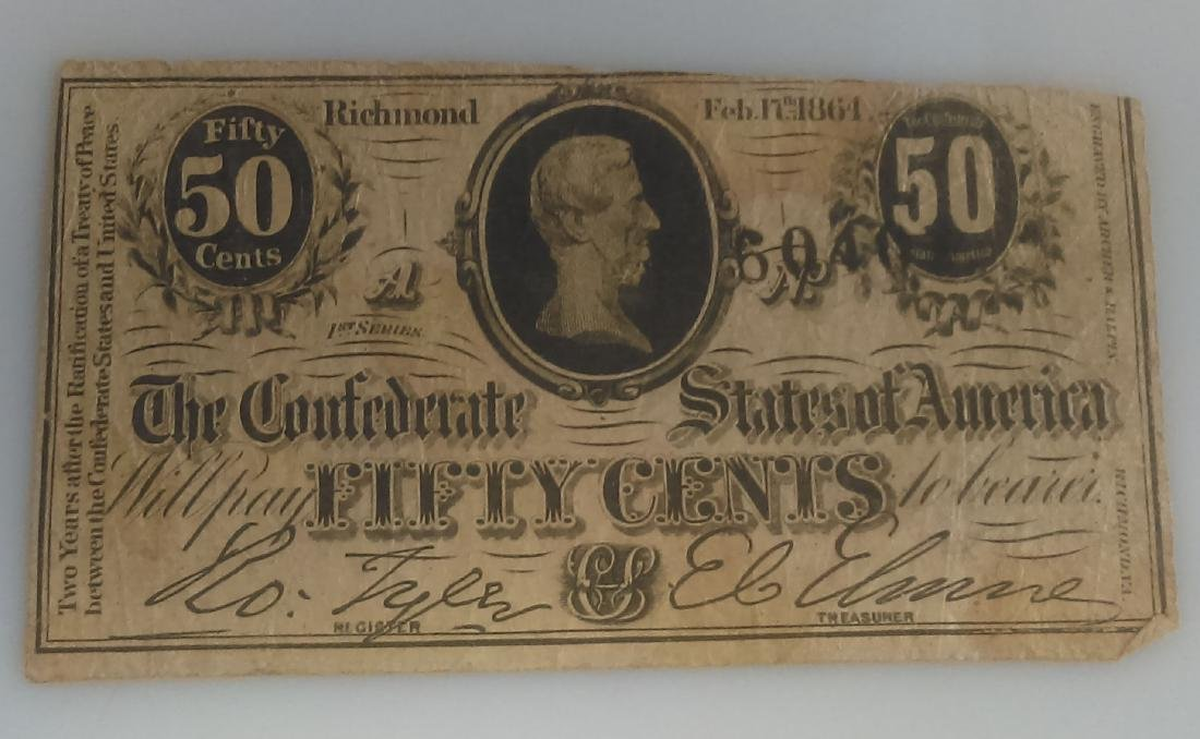 1864 Confederate Fifty Cent (.50) Note