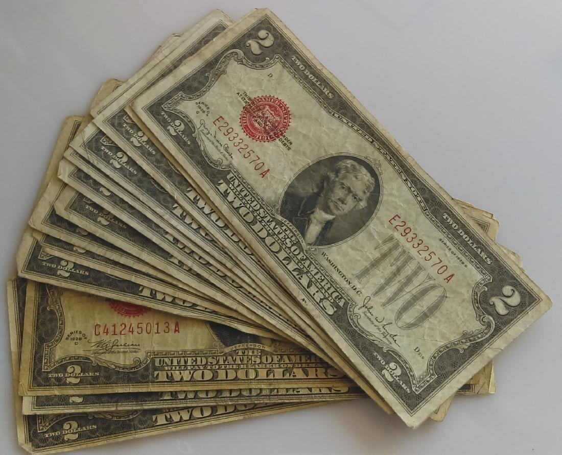 15 Average Circulated 1928 Red Seal $2.00 Notes