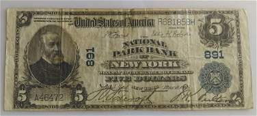 1902 Five Dollar 500 National Currency National