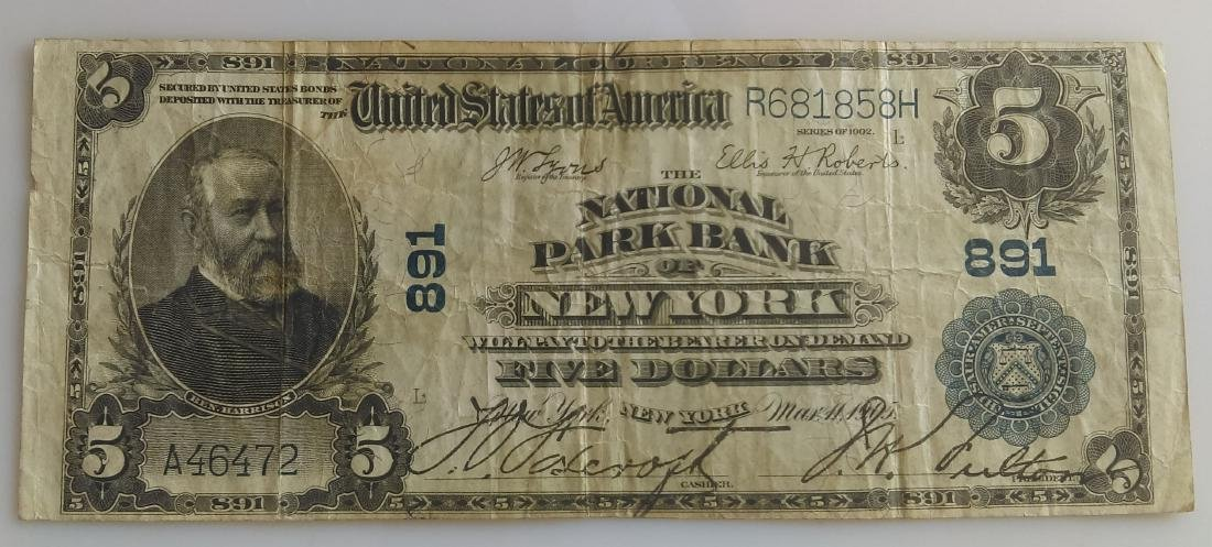 1902 Five Dollar (5.00) National Currency- National