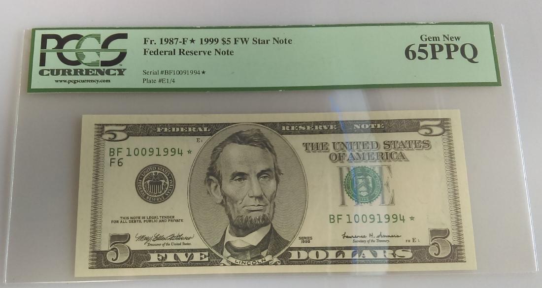 1987-F FRN $5.00 Star Note PCGS Graded MS66PPQ