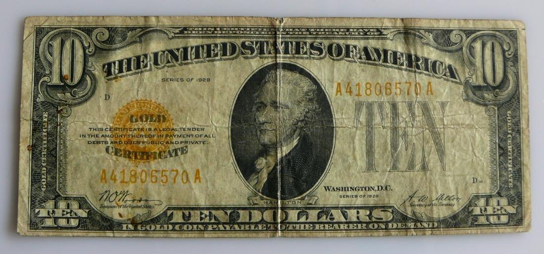 1928 Ten Dollar (10.00) Yellow Seal Gold Certificate