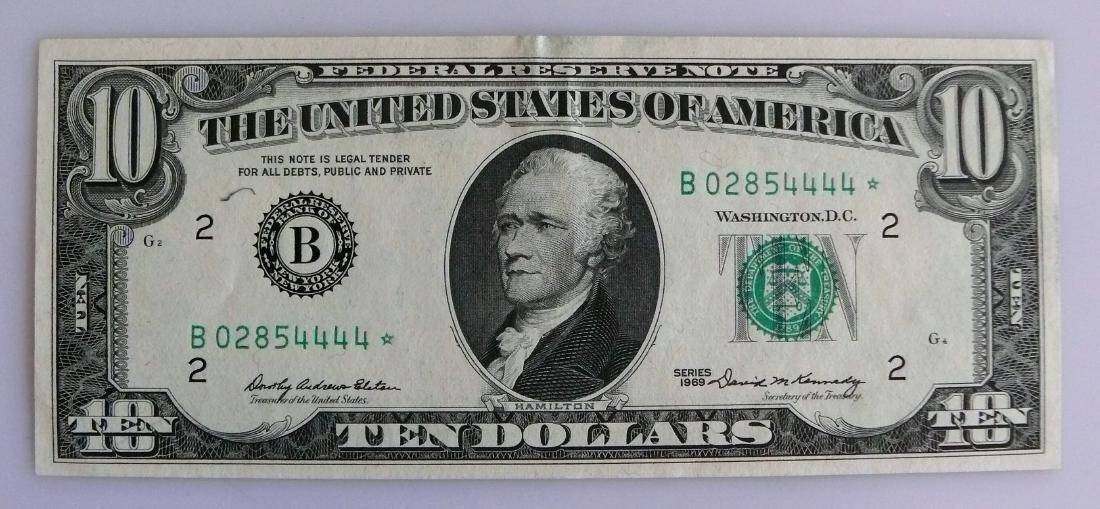 1969 B-Block FRN Almost- Uncirculated Ten ($10.00)
