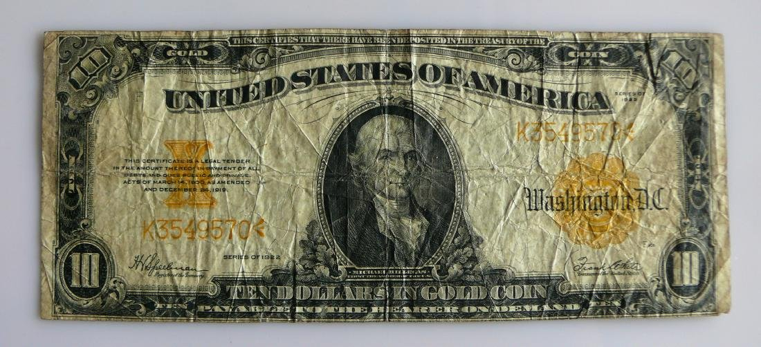 Series of 1922 Large Size Ten (10.00) Dollar Gold
