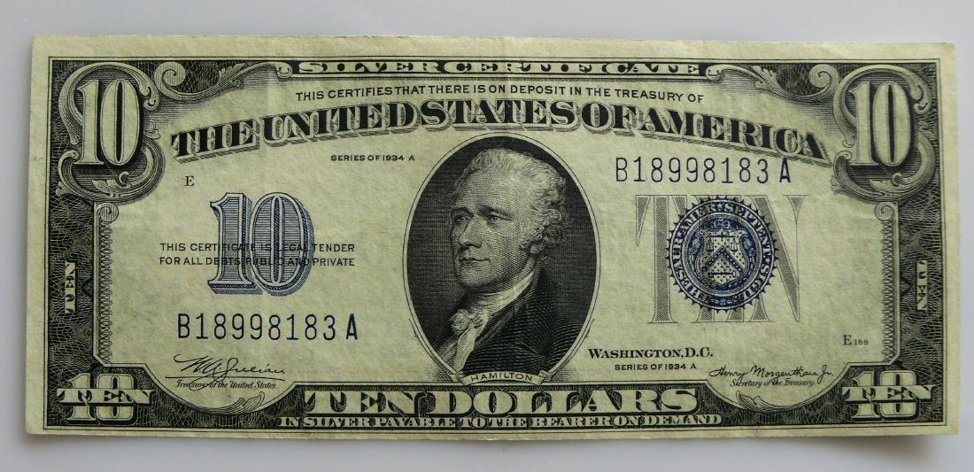 1934-A Blue Seal Silver Certificate Ten (10.00) Dollar