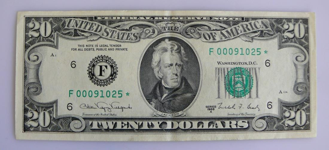 1988-A Almost Uncirculated $20.00 FEDERAL RESERVE-