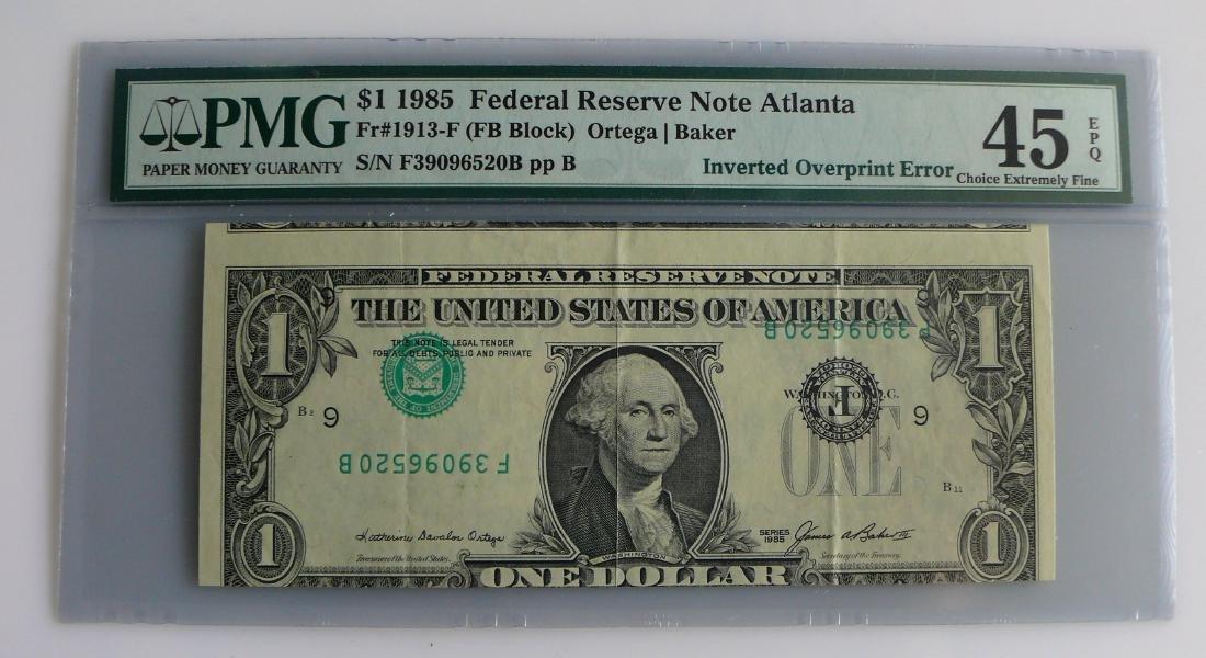 1985 $1 (One) Dollar Inverted Overprint Error Note