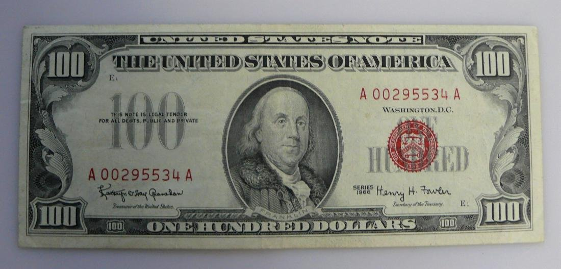 1966 One Hundred Dollar (100.00) RED SEAL United States
