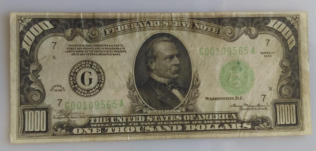 1934 VF-XF One Thousand (1000.00) Dollar Federal