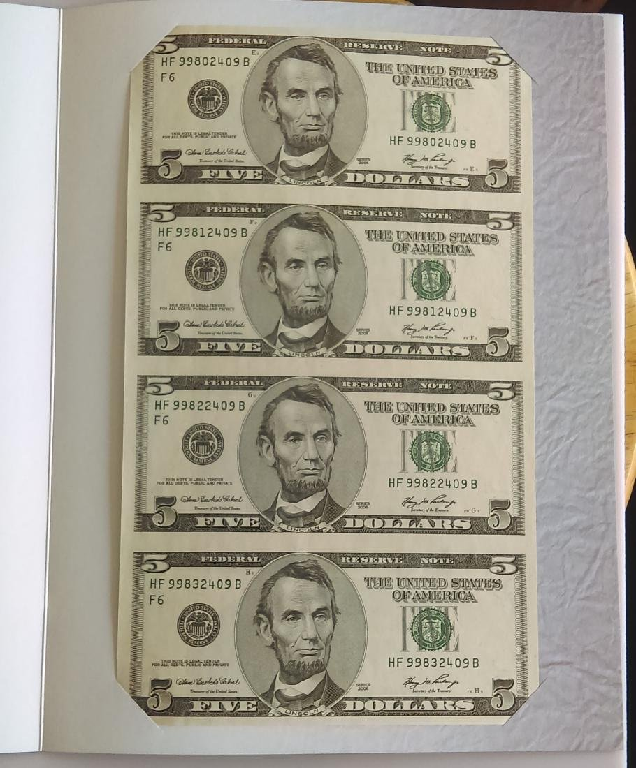 BEP Issued Uncut Sheet of Four Series 2006 FRN Five (5)