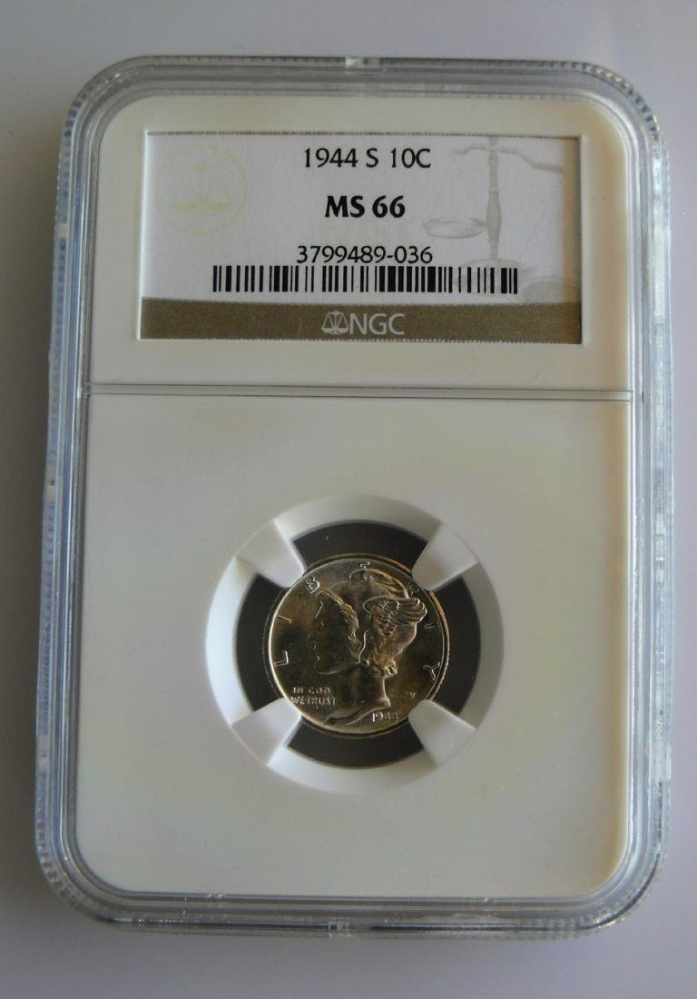 1944S Mercury Dime NGC MS66