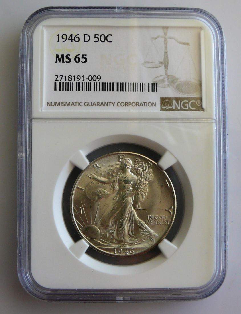 1946 D Walking Liberty Half Dollar NGC MS65