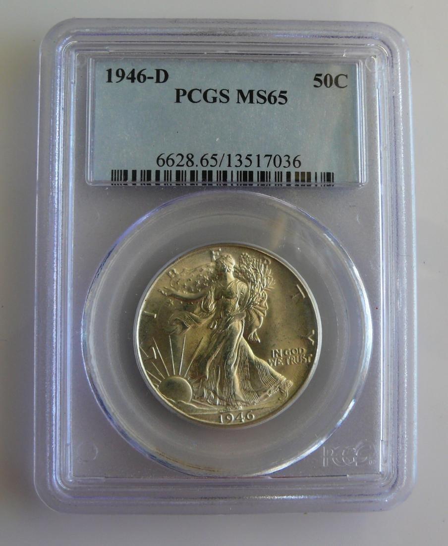 1946 D Gem Walking Liberty Half Dollar PCGS MS65
