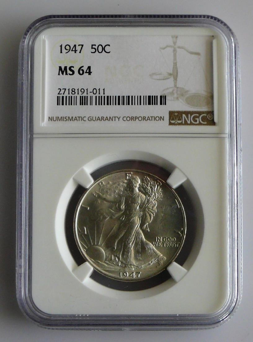 1947 P Walking Liberty Half Dollar Graded NGC MS64