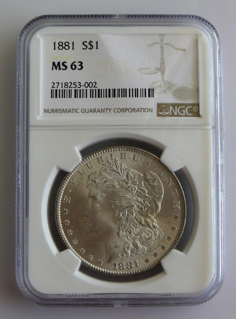 1881 P Morgan Silver Dollar NGC MS63