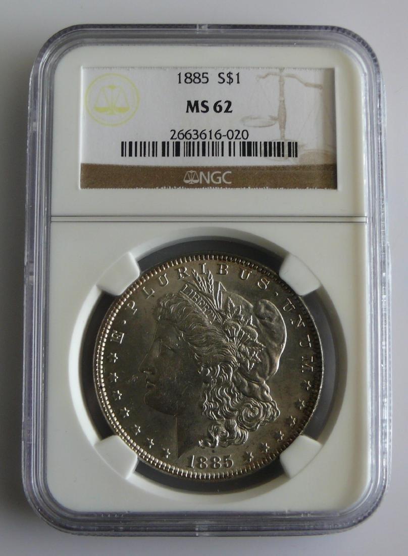 1885 Morgan Silver Dollar Graded NGC MS62