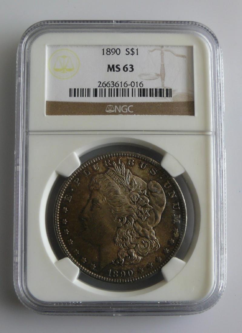 1890 Morgan Silver Dollar Graded NGC MS63 Toned