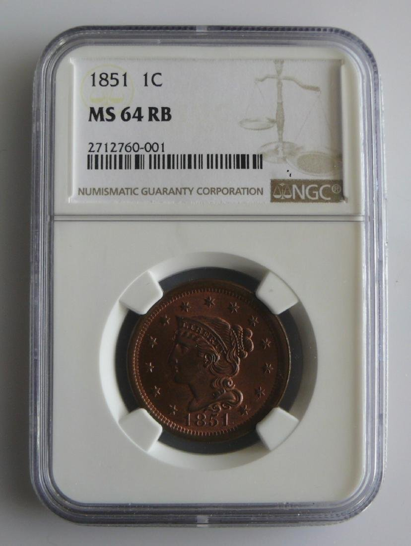 1851 Braided Hair Cent NGC Graded MS64 RB (Mostly Red)