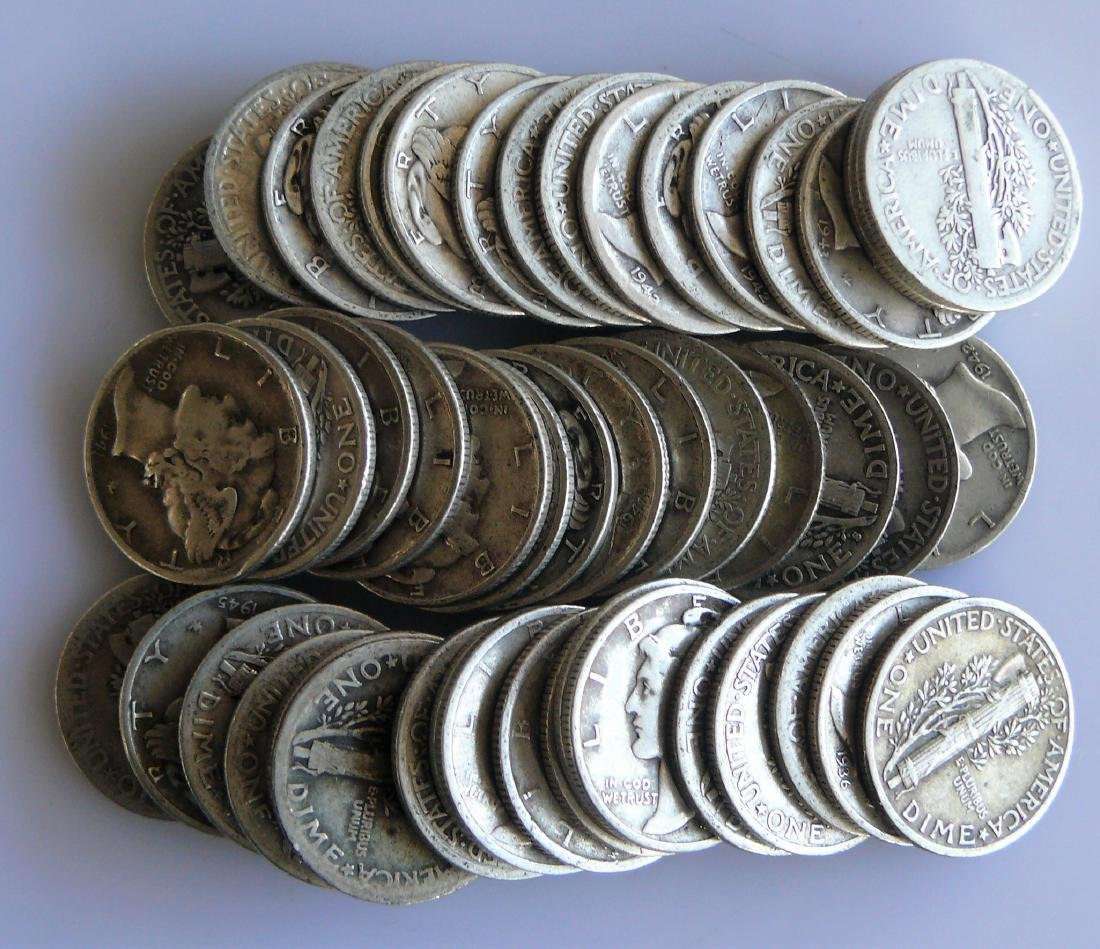 50 Coin Roll of Full Rim Mercury Dimes