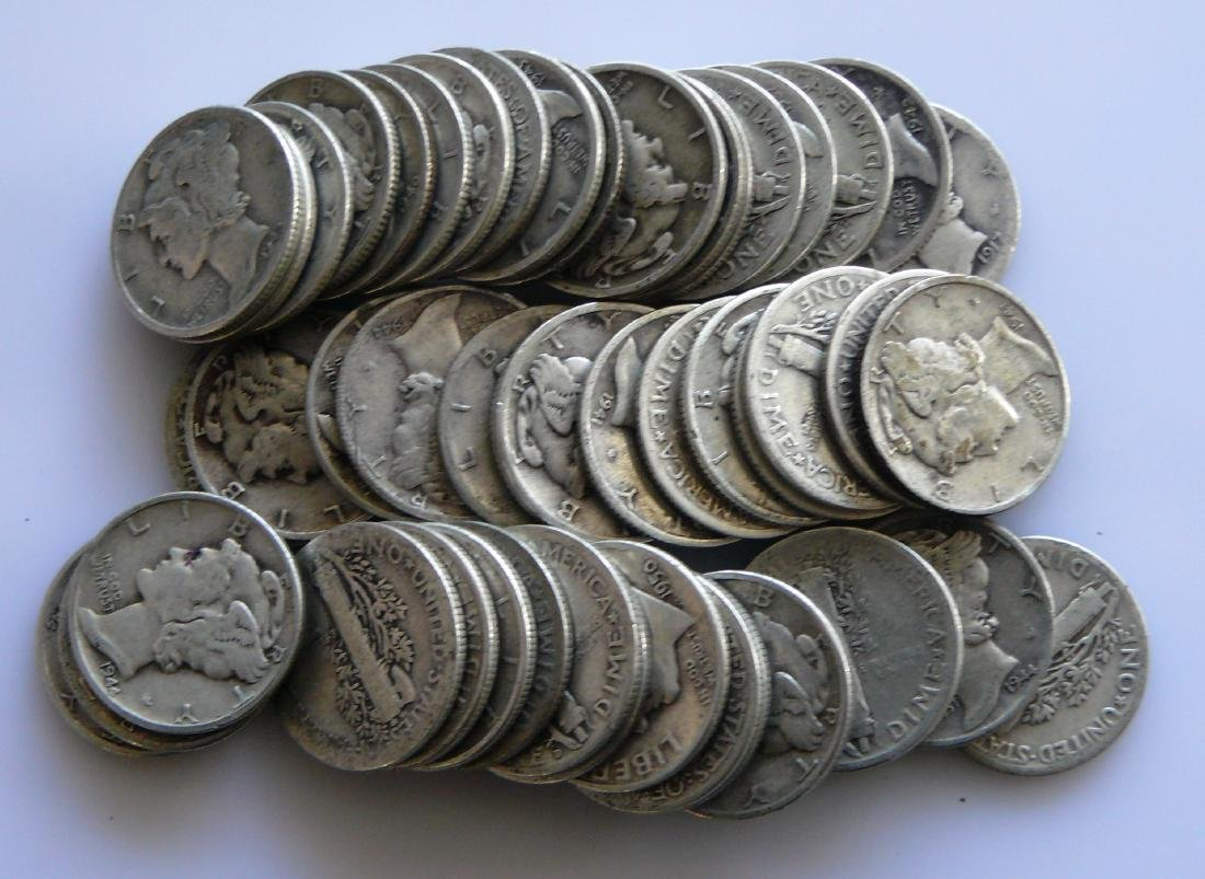 50 Coin Roll of Full Rim Mercury Dimes