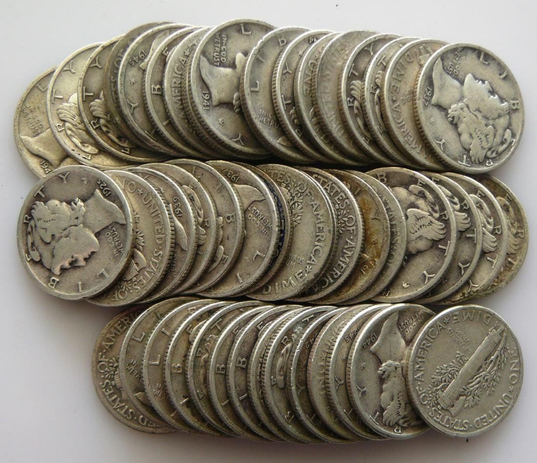 50 Coin Roll of Full Rim Mercury Dimes - 2