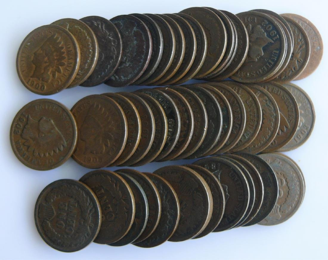50 Coin Roll of Nice Circulated Indian Head Cents