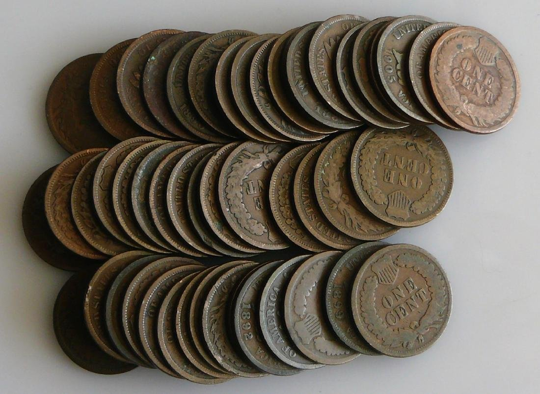 50 Coin Roll of Nice Circulated Indian Head Cents - 2