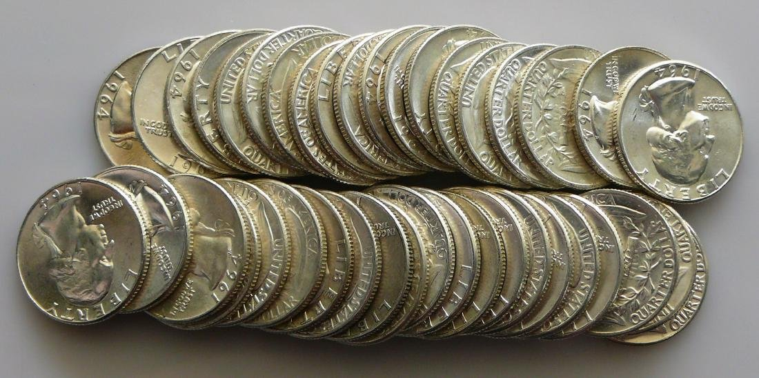 A Forty Coin Roll (10.00) Face of Uncirculated 1964