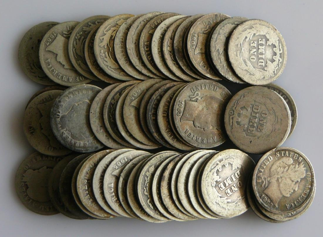 50 Coin Roll of Circulated Barber Dimes