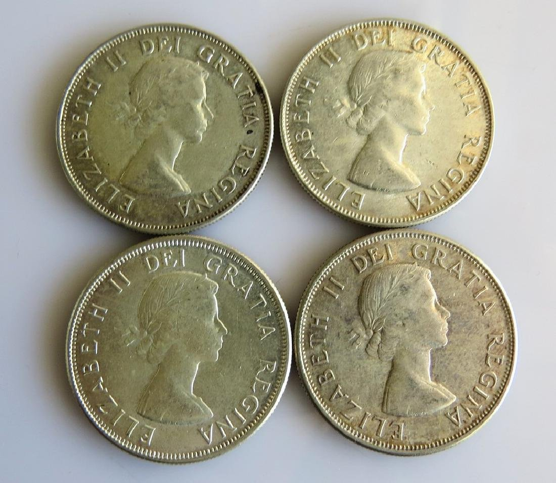 Four Better Canadian Silver Half-Dollars 1953 - 56 - 57