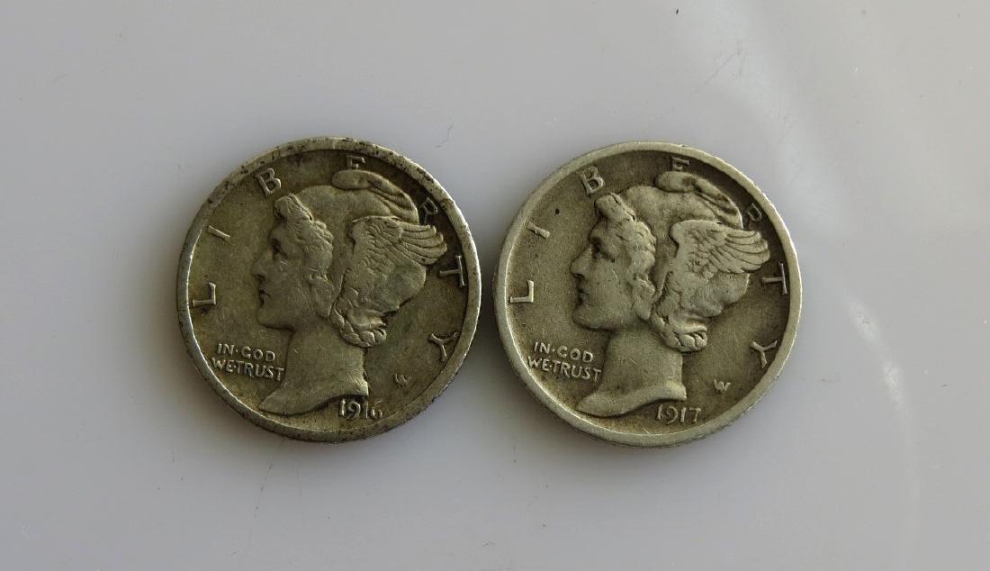 1916 S & 1917 S Mercury Dime