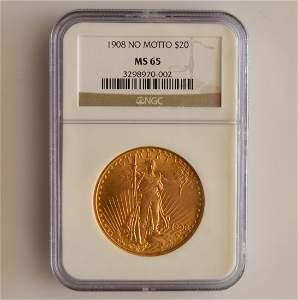 1908 No Motto NGC MS 65 Saint Gaudens $20.00 Gold Coin