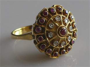 18k Gold Dome-Style Ruby and Diamond Ring