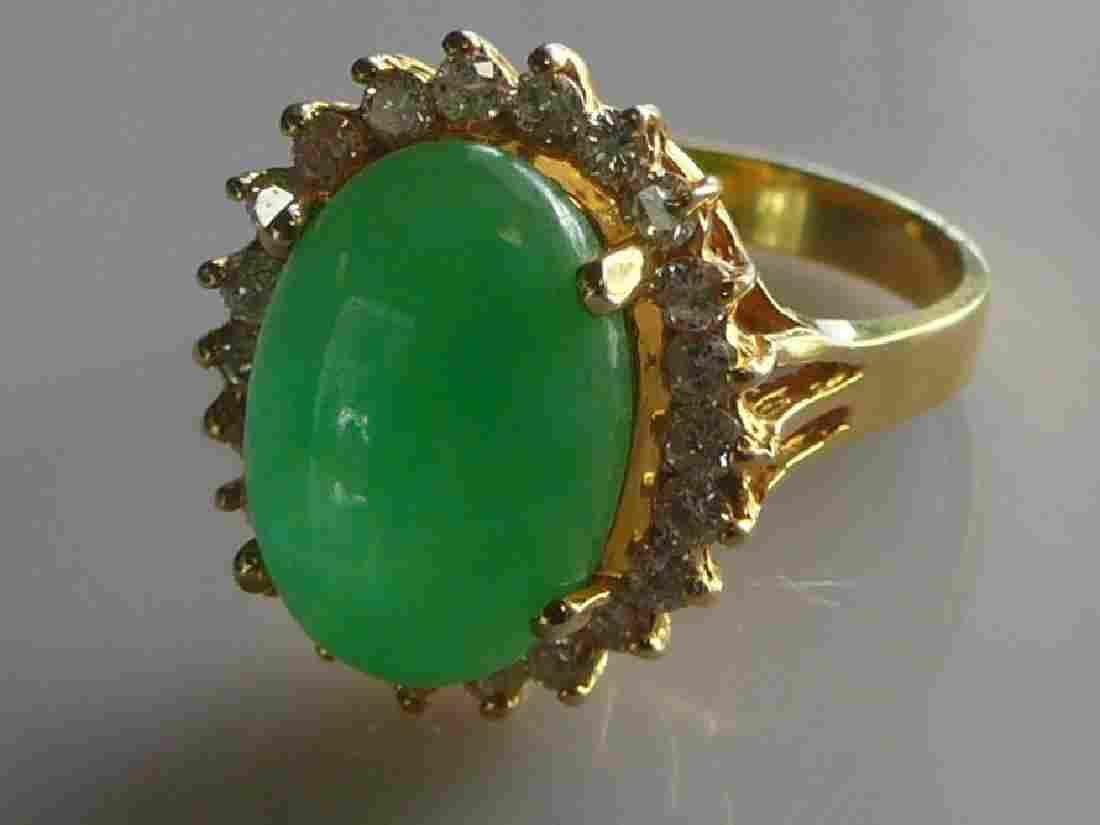 Jadeite and Diamond 18k Halo Ring