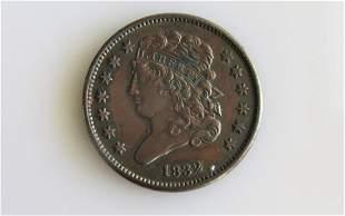 1832 Classic Head 1/2 Cent XF-AU