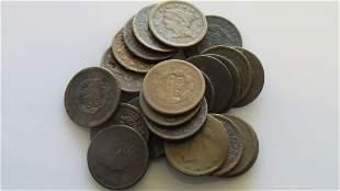 Twenty-Five (25ct.) US Large Cents Poor Condition Some