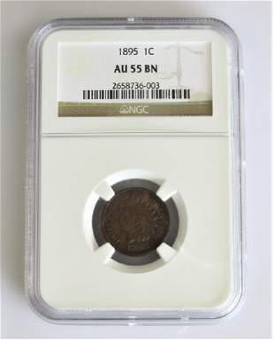 1895 Indian Cent Choice AU NGC AU-55BN
