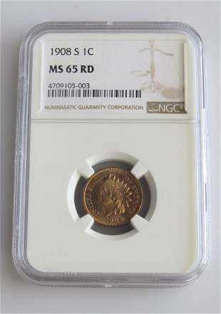 1908 S Indian Head Penny NGC Graded MS65RD!!!