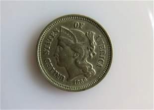 1866 Three Cent Nickel Choice XF