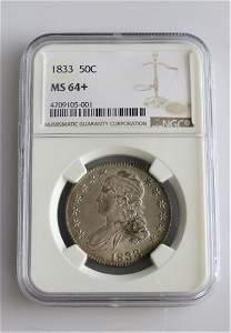 1833 Capped Bust Half Dollar Graded MS64+