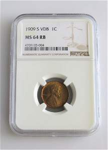 1909 S VDB Lincoln Cent NGC Graded MS64RB