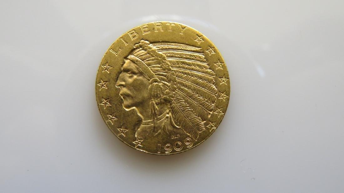 1909-D $5.00 Five Dollar Gold Indian Half-Eagle Better