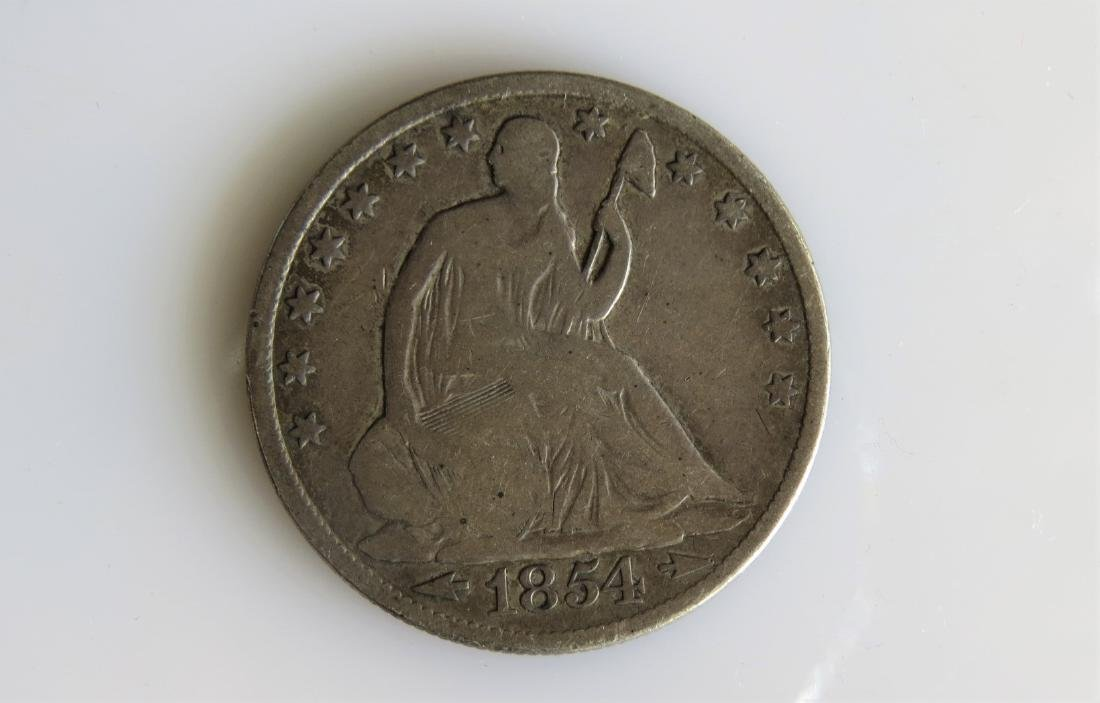 1854 0 with Arrows Seated Liberty Half-Dollar VG+
