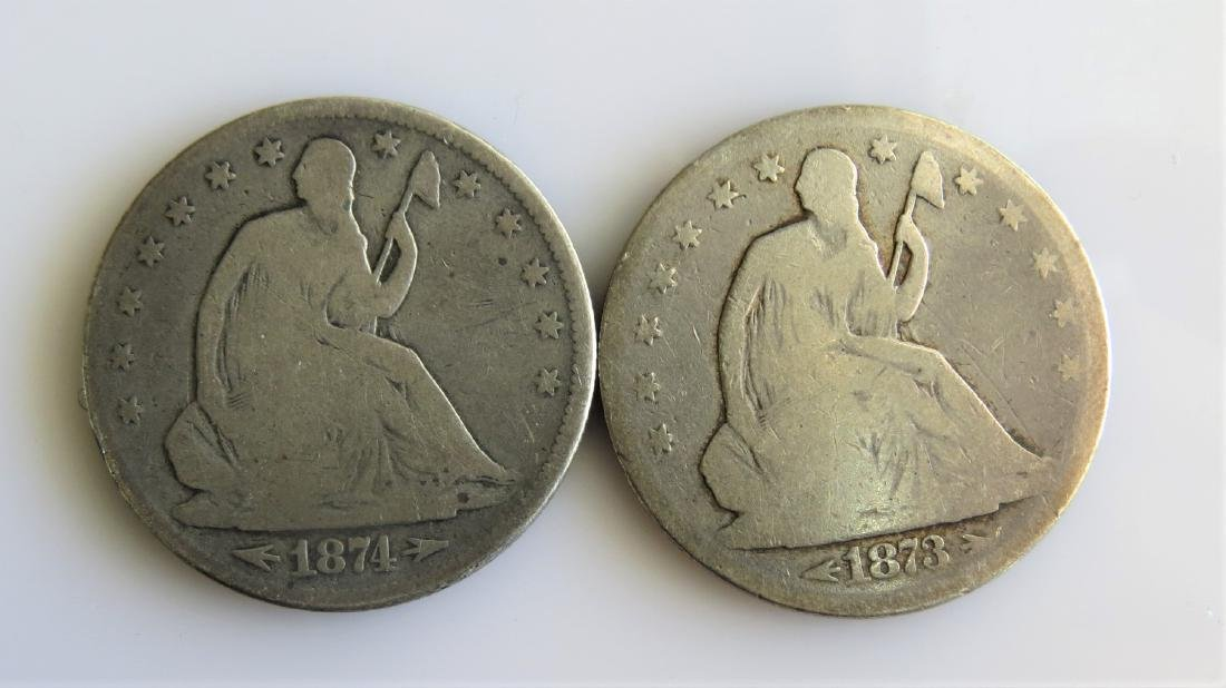 1873 and 1874 W/Arrows Seated Half Dollars Two (2ct.)