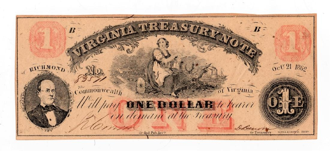 1862 One $1.00 Dollar Virginia Treasury Note Unc.