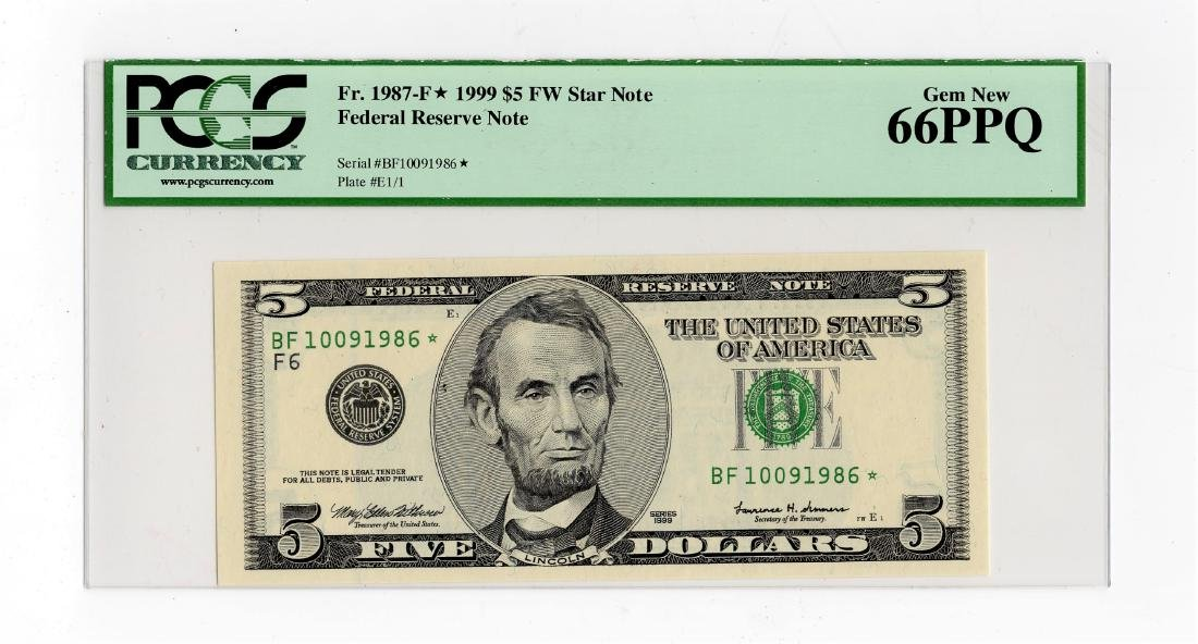 1999 Five Dollar $5.00 FRN Star Note PCGS Gem MS66PPQ