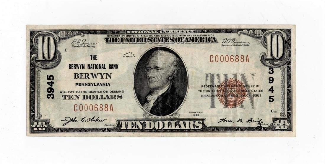 1929 $10.00 Brown Seal National Currency Note -Bank of