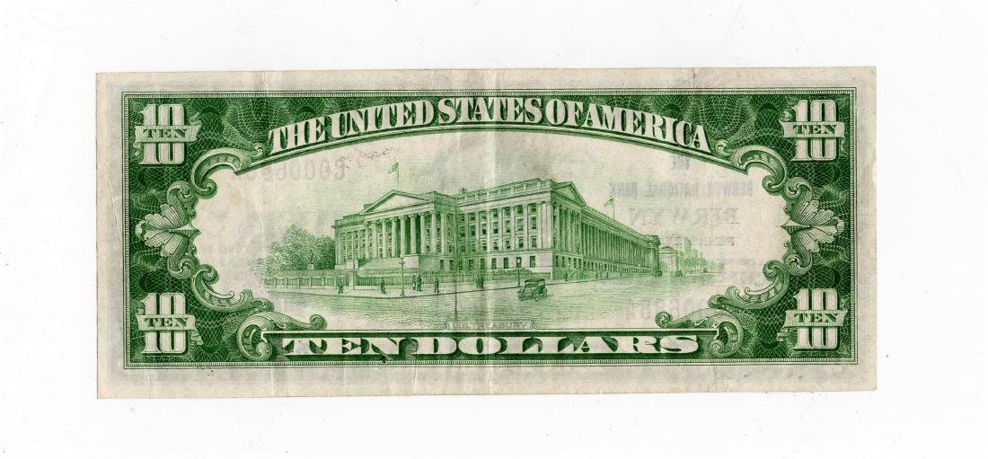 1929 $10.00 Brown Seal National Currency Note -Bank of - 2
