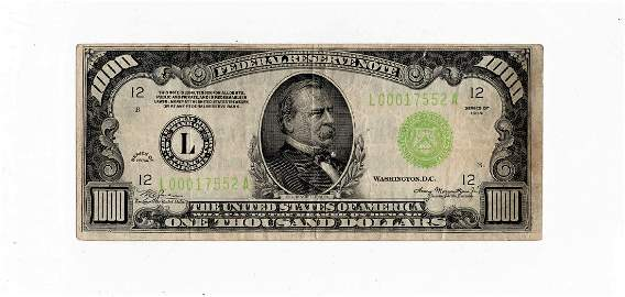 1934-L One Thousand $1000.00 Dollar Federal Reserve
