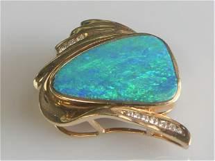 14k Boulder Black Opal and Diamond Custom Slide Pendant